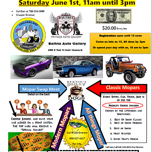 Saturday June 1st Mopar Car Show